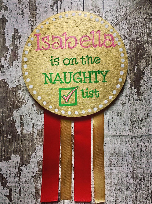 Naughty or Nice list wooden badge