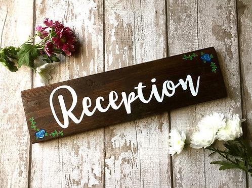 Rustic wooden wedding 'reception' sign