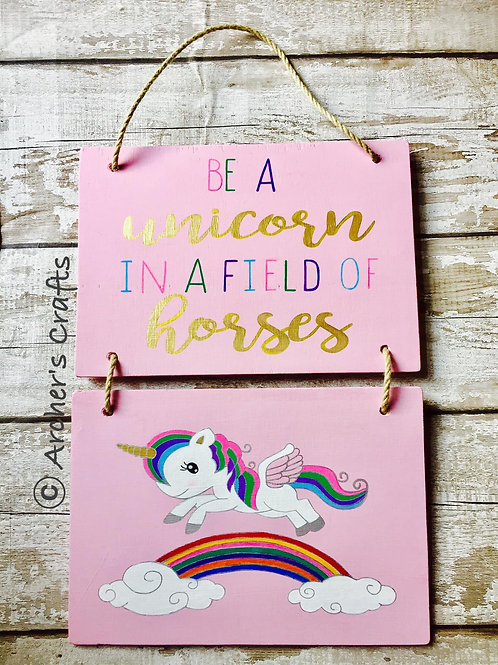 Unicorn double wall hanging plaques
