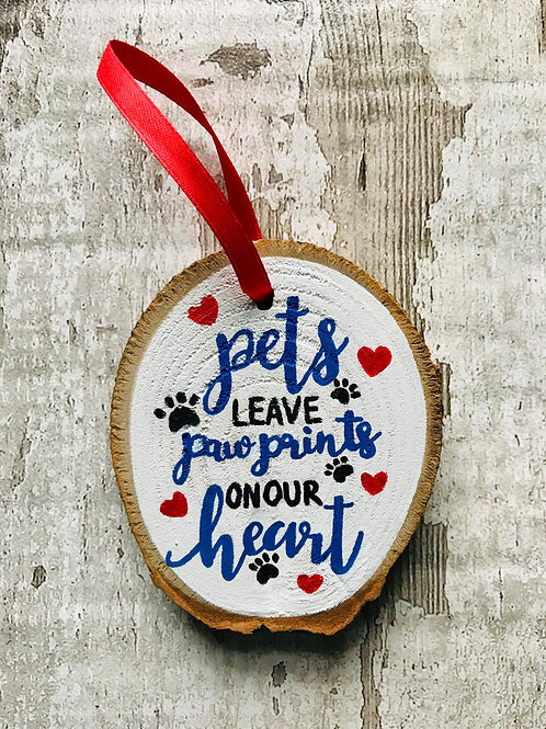 'paw prints phrase' pet memorial tree ornament