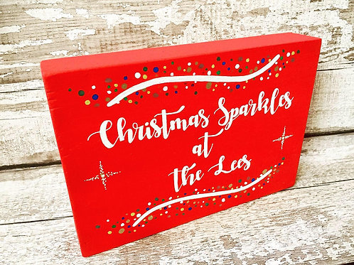 Personalised family wooden 'Christmas Sparkles at the...'