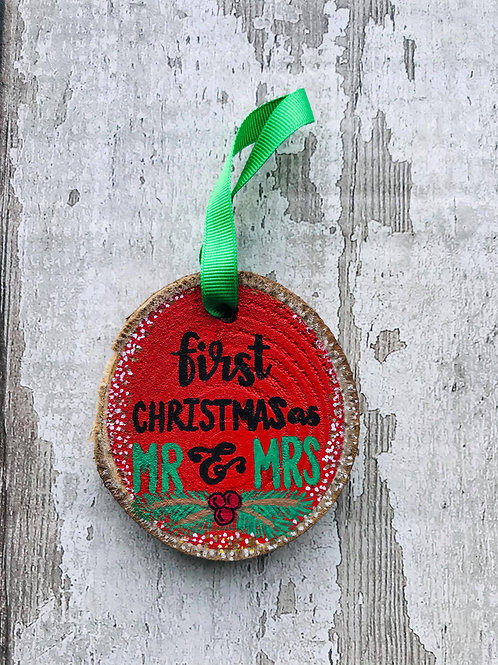 'First Christmas as Mr & Mrs' tree ornament