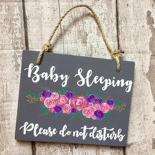 Nursery decor, A5 hanging wooden door sign 'baby sleeping'