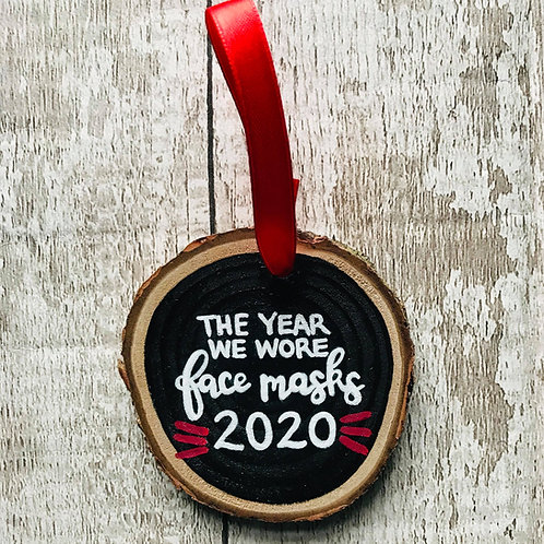 'the year we wore face masks 2020' rainbow tree ornament