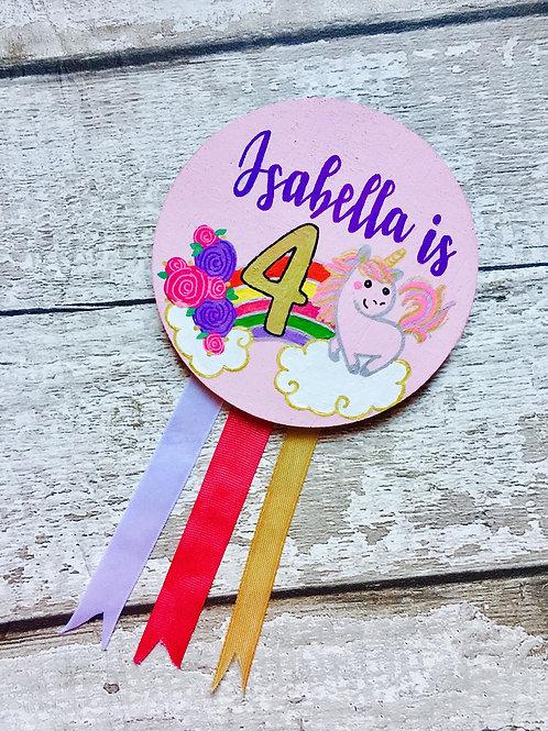 Girls wooden birthday age badge