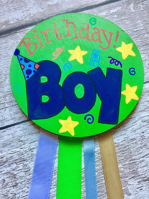 Boys wooden birthday age badge