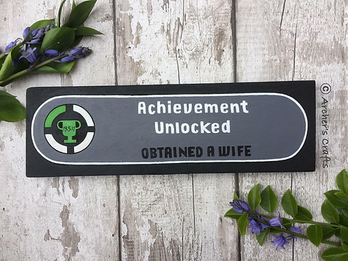 Personalised gamers 'achievement unlocked' sign