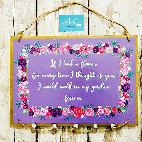 A3 wooden memorial quote sign