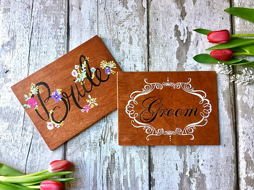 Wedding 'Bride & Groom' ANY DESIGN wooden signs