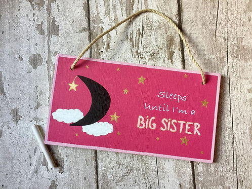 Big sister chalkboard countdown sign