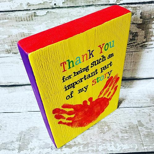 A5 wooden 'Thank you...' teacher plaque