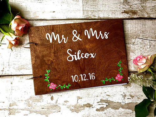 A4 wooden wedding guest book, personalised