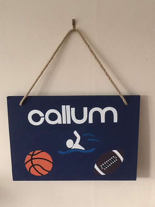 Wooden personalised sports sign