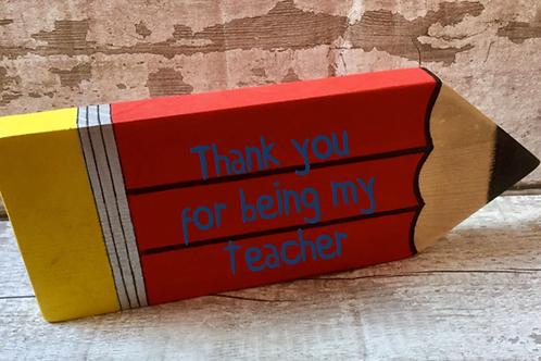 Wooden personalised teachers pencils