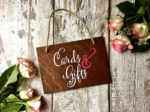Wedding 'Cards & gifts' wooden hanging sign