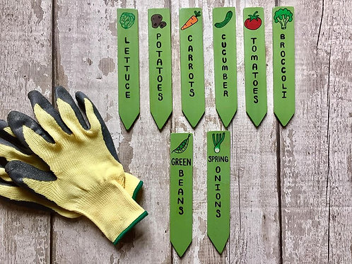 Personalised garden vegetable stakes