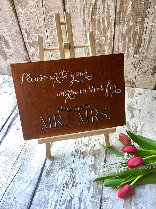A4 wedding decor, 'warm wishes for the new mr & mrs' wooden sign