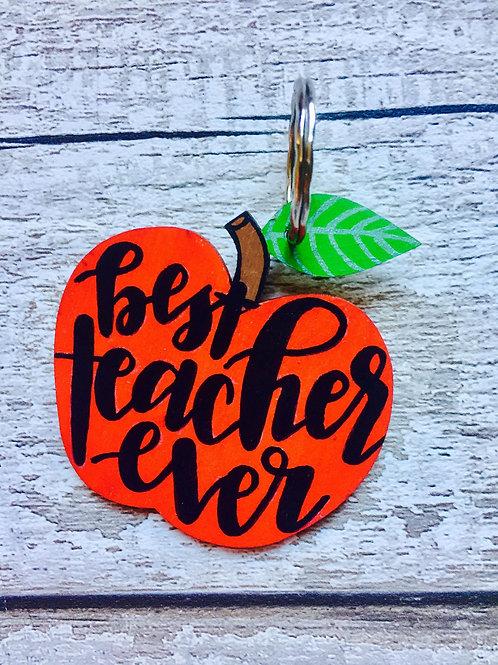 Wooden apple 'Best Teacher' keyring