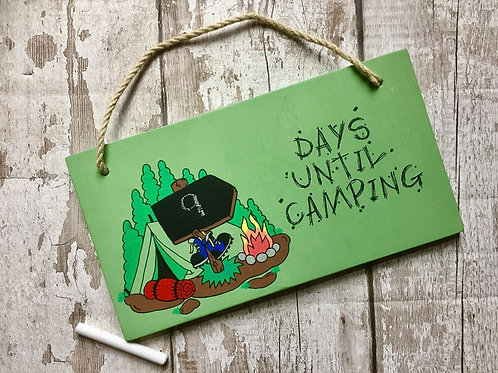 Camping countdown chalkboard sign