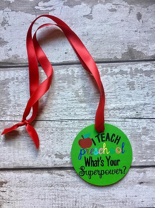 Personalised teacher wooden medallion