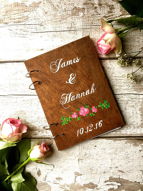 A5 wooden wedding guest book, personalised