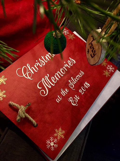 Personalised family 'Christmas Memories' wooden book