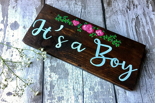 Rustic wooden baby shower gift, 'it's a boy'