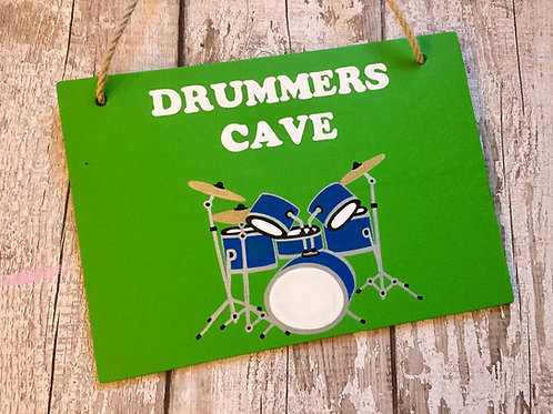 Wooden personalised 'drummers cave' sign