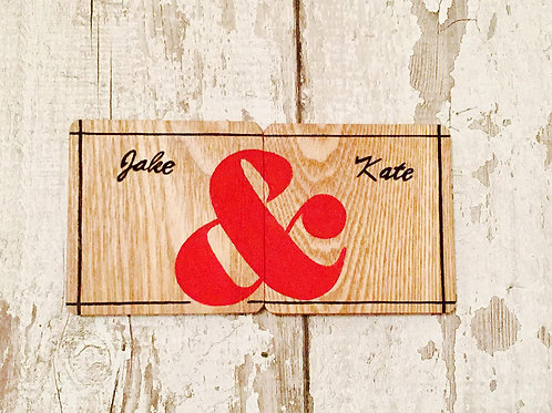 Personalised couples wooden coasters