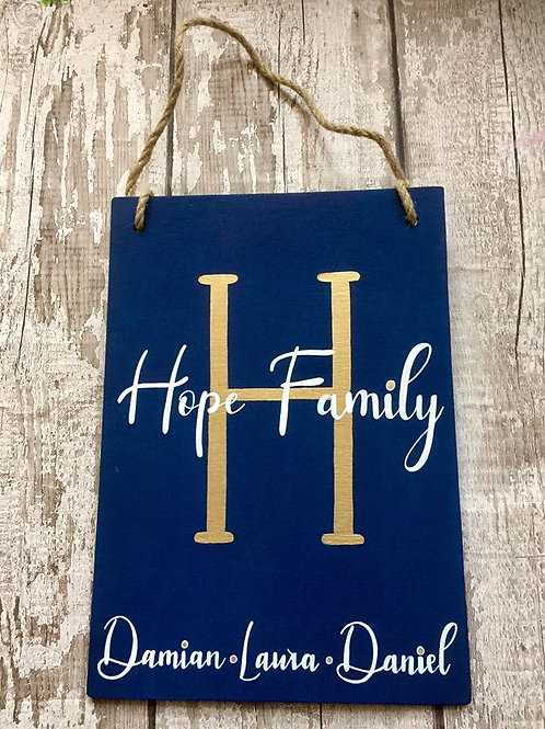 Personalised family initial sign