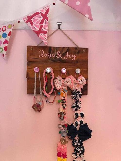 Girls hanging wooden headband holder