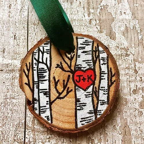 Personalised couples initials tree ornament
