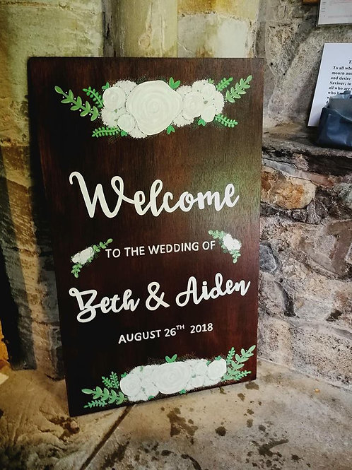 Large wedding 'welcome to the wedding of..' wooden sign