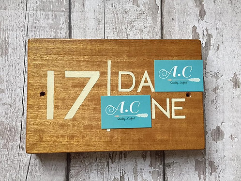 Wooden house number/name sign