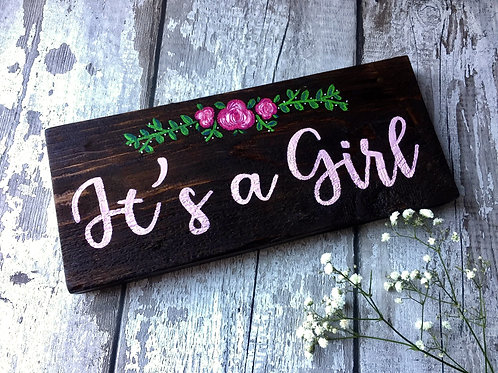 Rustic wooden baby shower gift, 'it's a girl'