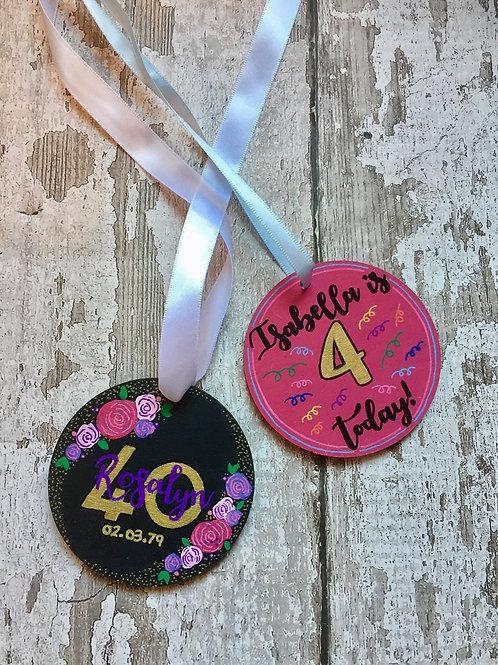 Wooden round birthday medallions
