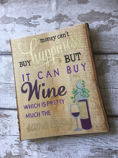 Rustic solid wooden wine lovers sign