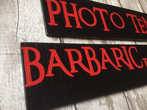 Solid wood plank signs