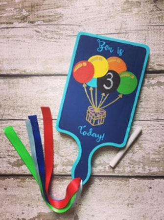 Boys birthday chalkboard paddle