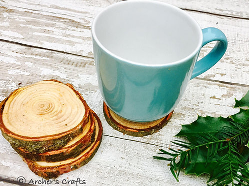 Rustic wooden round coasters