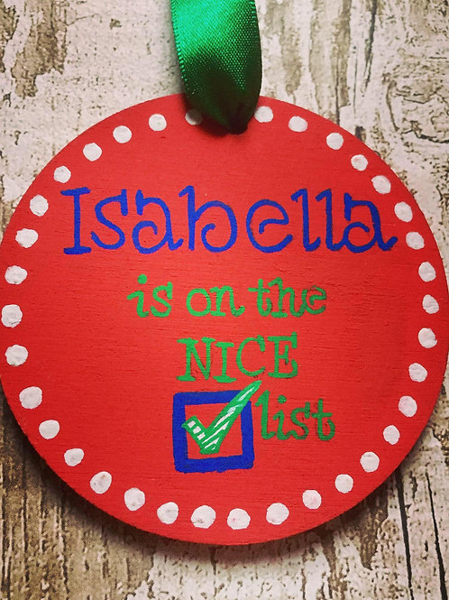 'Naughty or Nice List' Christmas wooden Medallions