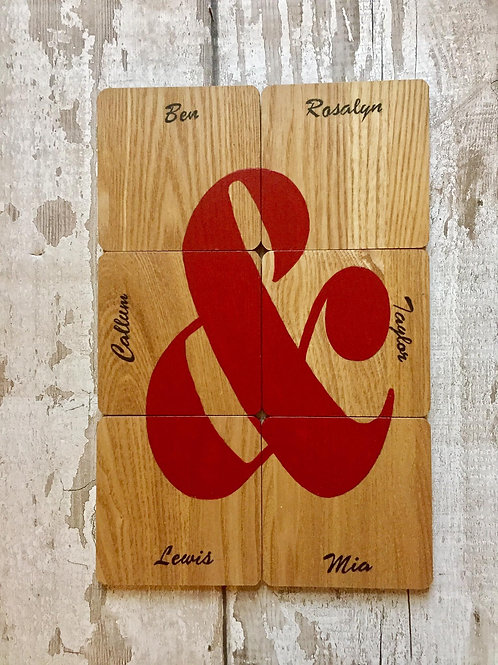 Personalised family wooden coasters