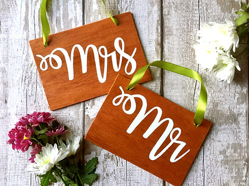 Rustic 'Mr & Mrs' wooden hanging signs