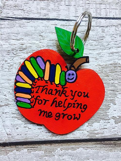 Wooden apple teacher 'thank you...' keyring