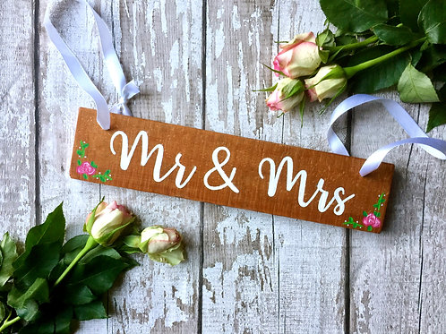 Rustic 'Mr & Mrs' wooden hanging sign