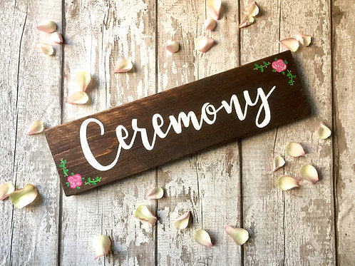 Rustic wooden wedding 'ceremony' sign