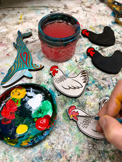 Painting Chicken and Whale Magnets