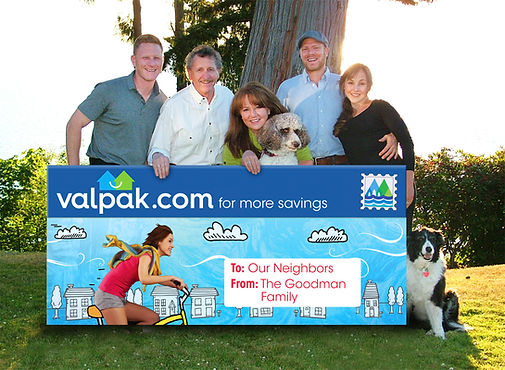 Kim, Jeff, Justin and Jenna Goodman and Gabe Mannino local Valpak advertising family photo.