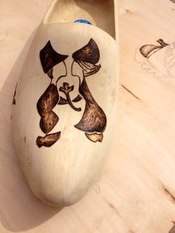 Wood Burned Wooden Dutch Shoes