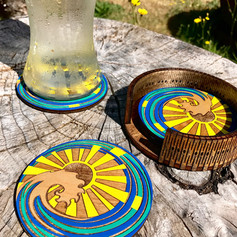 """""""Sunny Waves"""" painted coasters"""